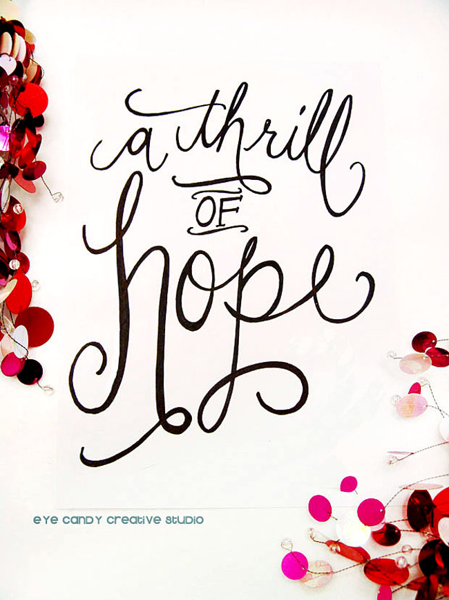 christmas art, hand lettered christmas art print, a thrill of hope, hand lettering