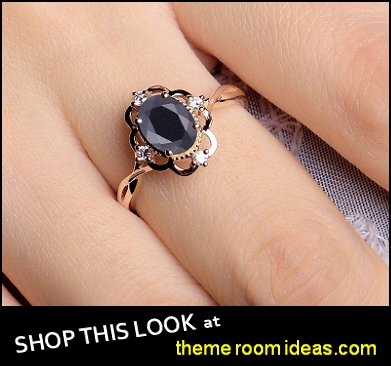 Black Onyx engagement ring vintage women Rose gold oval cut Antique diamond promise ring Wedding unique Jewelry Anniversary gift for her