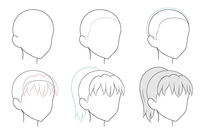 Anime ponytail hair 3/4 lihat gambar langkah demi langkah
