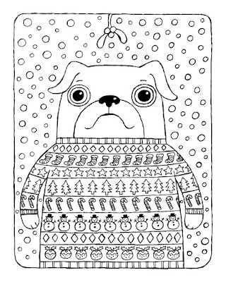 illustration of pug wearing xmas sweater under mistletoe