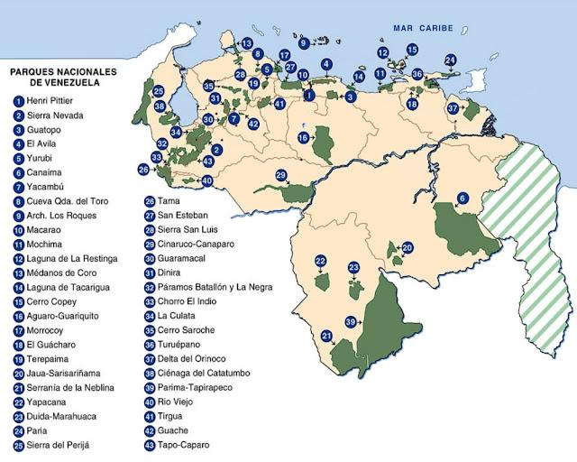 Mapa de los Parques Nacionales de Venezuela