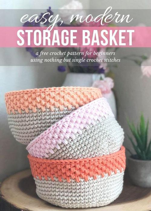 Easy Modern Crochet Storage Basket - Free Crochet Pattern