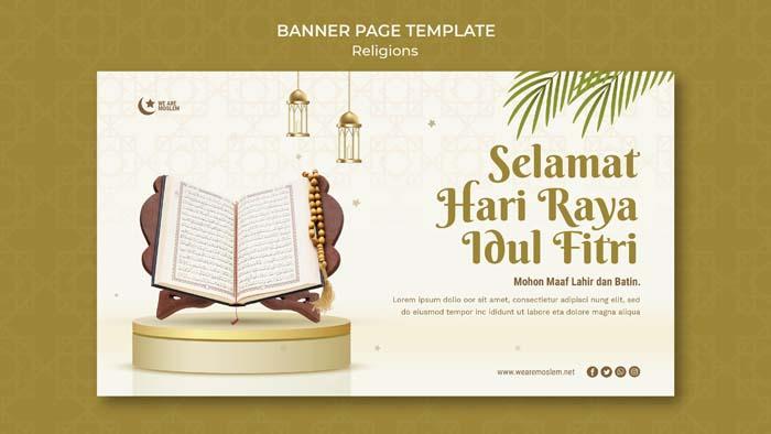 Eid Mubarak Horizontal Banner Page Template