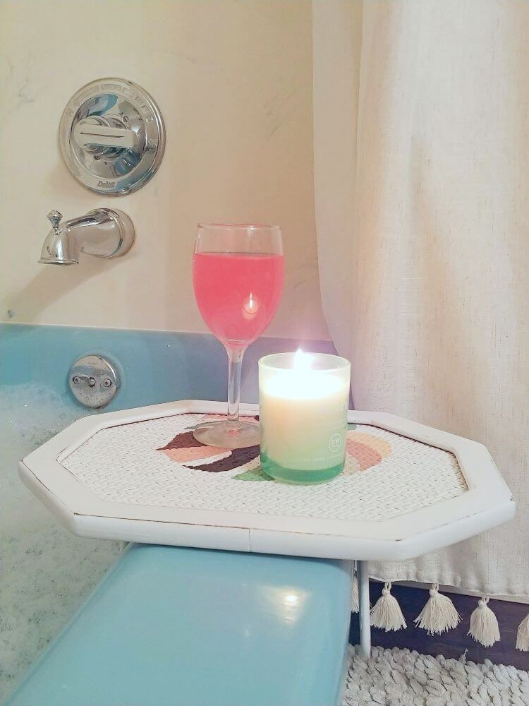 Upcycled Tray to Bathtub Side Table