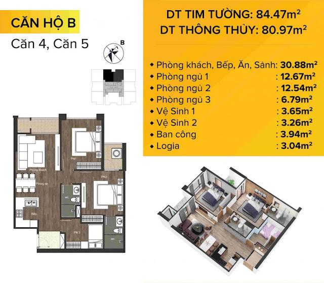 Mặt bằng Thiết kế chi tiết căn hộ B – Căn 04 và 05