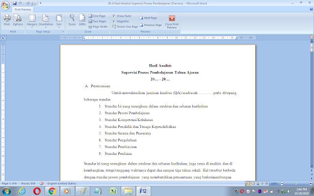 Format analisis supervisi proses pembelajaran