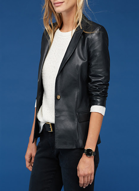 ladies classic leather blazer