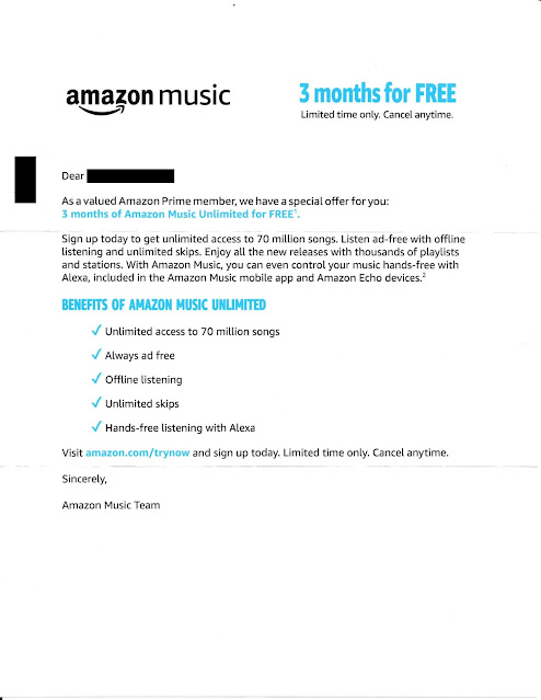 Amazon Music Unlimited Offer Letter