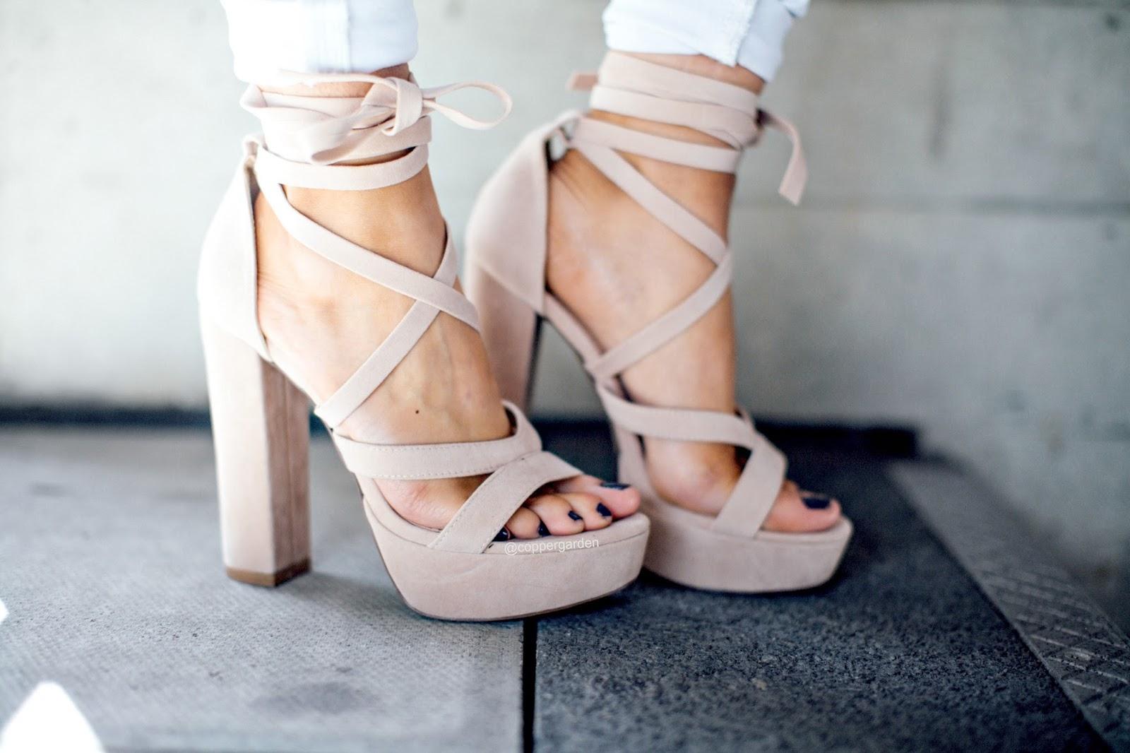 public desire lace up faux suede heels