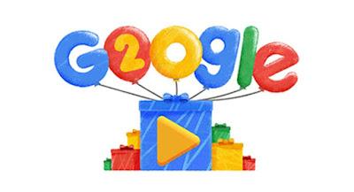 Doodle de los 20 años de Google, aniversario