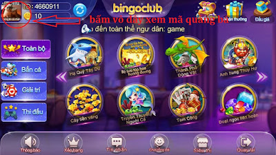 Giao diện game bingo club