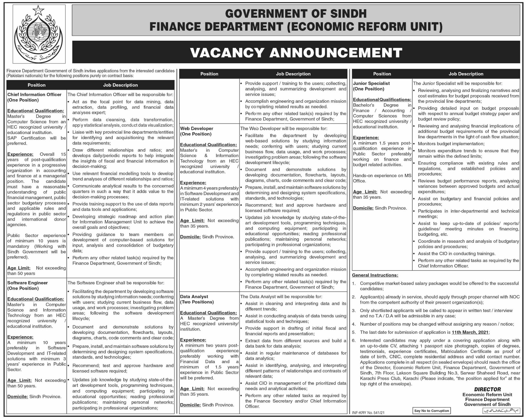 Finance Department Jobs 2021 - Sindh Jobs 2021 - Karachi Jobs 2021 - Latest Govt Jobs 2021 in Pakistan