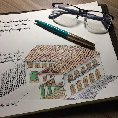 Arquitetura Maranhão - Desenho com lápis de cor e caligrafia