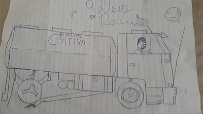 Filho de caminhoneiro de Oscar Bressane morto em acidente faz desenho dando adeus ao pai