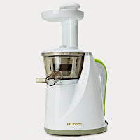 Hurom HU-100 Masticating Slow Juicer, preserves more nutrients, extracts 35% more juice, energy efficient at 150 watts, juices fruits vegetables wheatgrass nuts soy, also make milks sauces marinades and baby food
