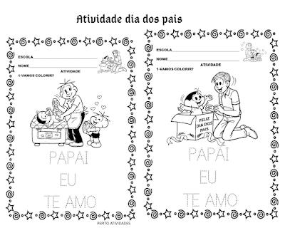 Atividade dia dos pais para imprimir e colorir.