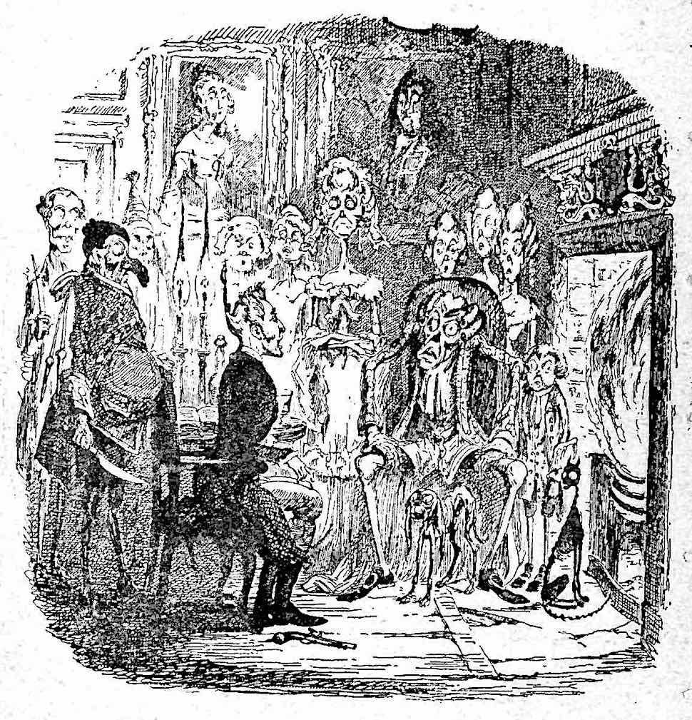 a George Cruikshank drawing of a man joined by ghosts at his fireplace