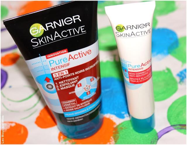 Soin 3 en 1 anti-points noirs incrustés au charbon végétal et le soin correcteur anti-boutons - Pure Active de SkinActive de Garnier - Blog beauté