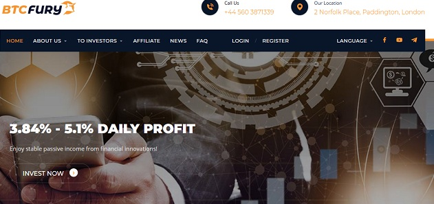Review Btcfury.io best site of investment with 3.84% - 5.1% DAILY PROFIT