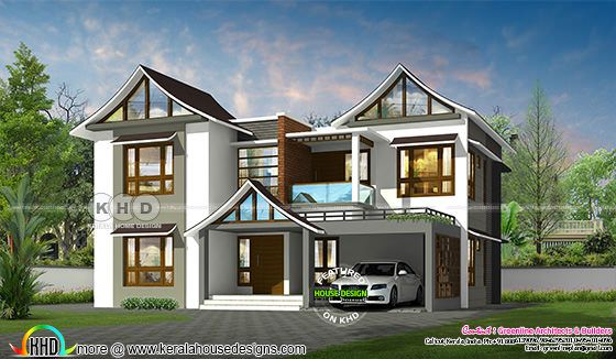 unique style sloping roof house architecture