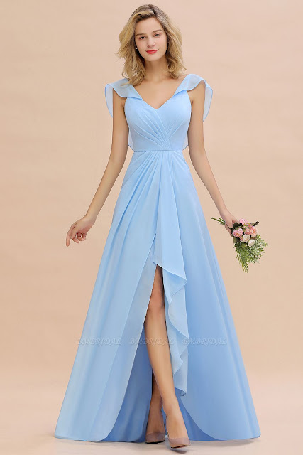 Hi-Lo V-Neck Ruffles Long Bridesmaid Dress