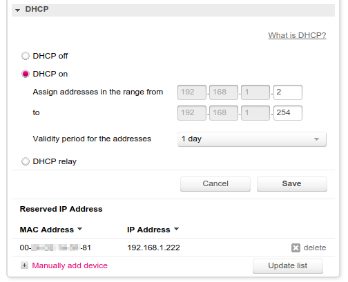 IP reservation for specific MAC address in gateway settings