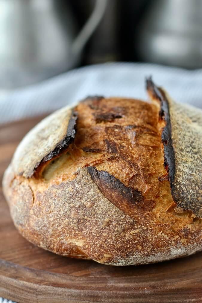 Light Rye Sourdough Bread slash