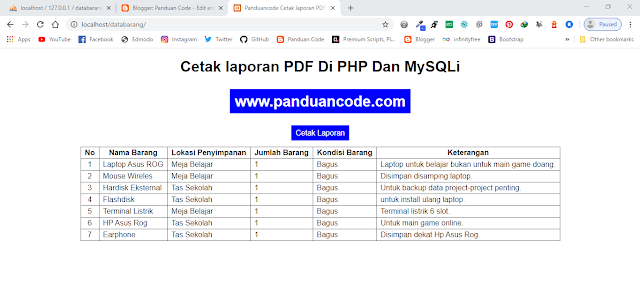 Cara Membuat Cetak Laporan PDF Di PHP Dan MySQLi