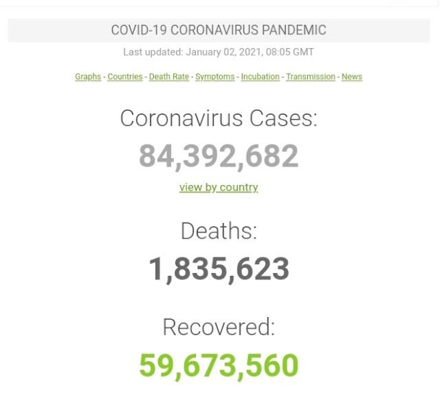 Kasus Covid-19 di Seluruh Dunia per 2 Januari 2021 ( 08:05GMT)