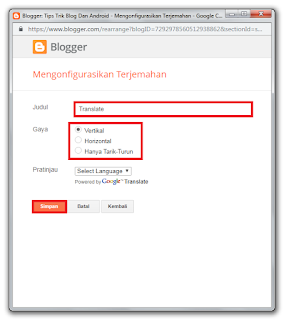 Cara Memasang Widget Translate Di Blogger