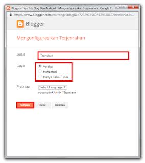Cara Memasang Widget Translate Di Blogger