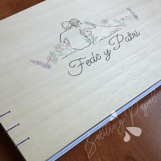 libro de firmas artesanal con ilustración