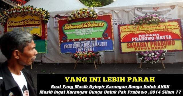 Masih Ingat Karangan Bunga Buat Prabowo Di Tahun 2014 Silam ?? Buat Yang Masih Nyinyir