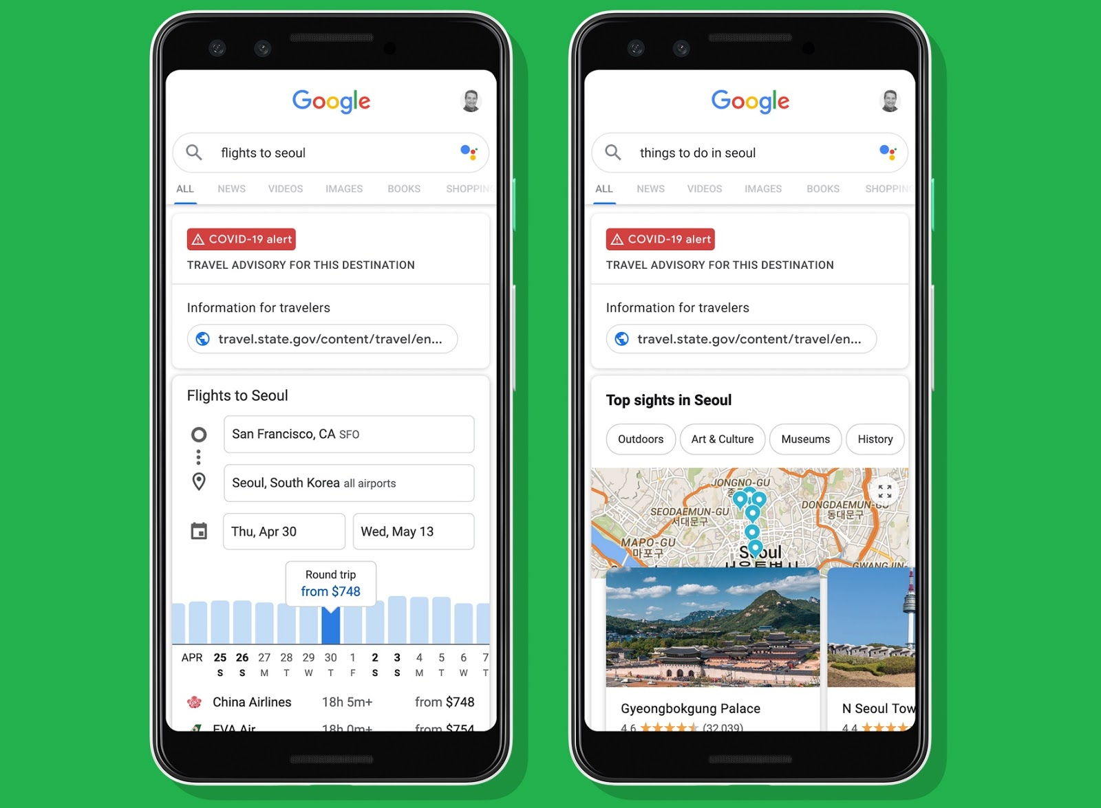 Stay updated on travel advisories and airline policies with Google