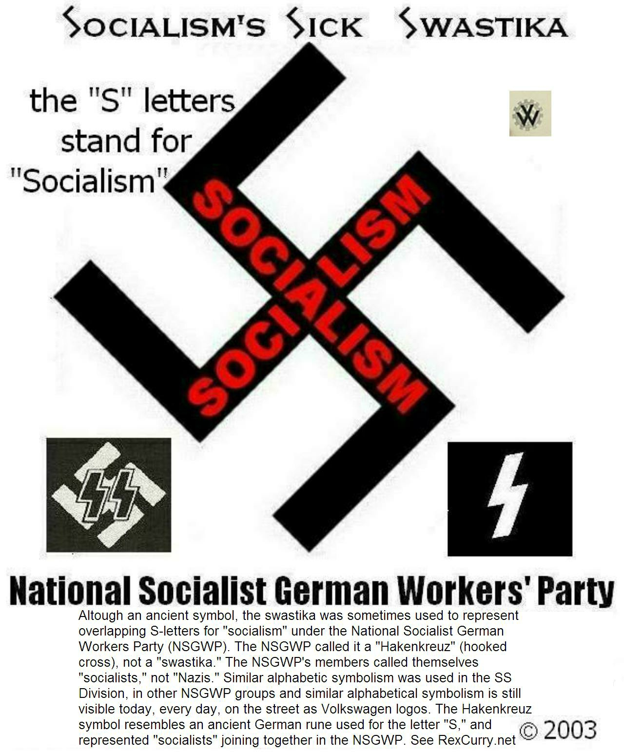 Swastikas from Adolf Hitler as S-letters for SOCIALISM symbols
