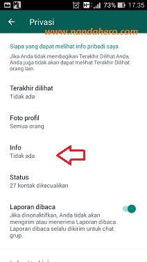 cara menghilangkan info wa