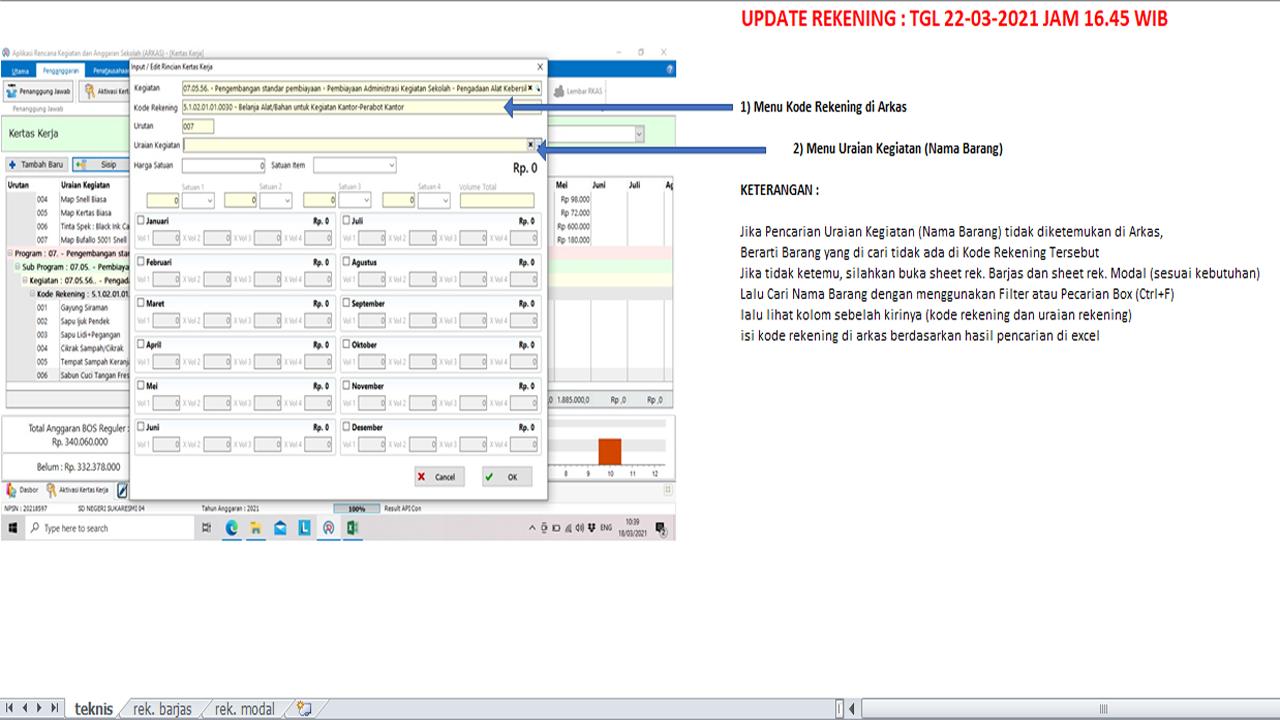 Download Kode Rekening Barjas dan Modal di ARKAS V3