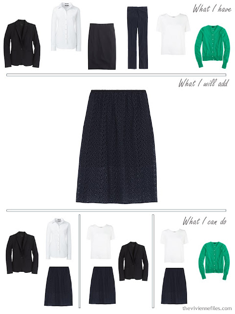 How to add a navy broderie anglaise skirt to a business capsule wardrobe