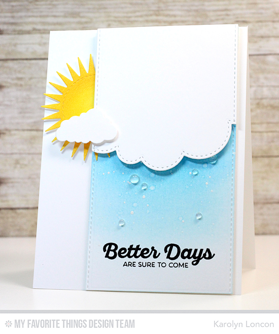 Handmade card from Karolyn Loncon featuring Rainbow of Happiness stamp set, In the Clouds, Radiant Sun, Stitched Cloud Edges, and Blueprints 23 Die-namics #mftstamps