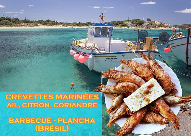 crevettes à l'ail, citron, coriandre cuisson plancha ou barbecue