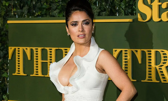 Hitman's Wife's Bodyguard (2021) Movie Actress Salma Hayek Hot Deep Cleavage in White Dress Actress Trend
