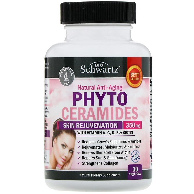 BioSchwartz, Фитокерамиды, омолаживание кожи, 350 мг, 30 растительных капсул
