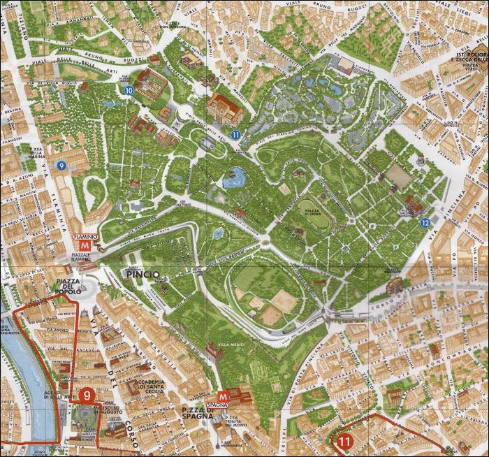 Plan des Jardins de la Villa Borghese