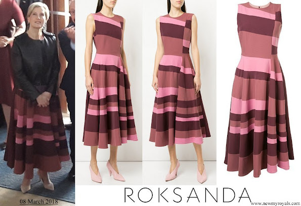 The Countess of Wessex wore ROKSANDA sleeveless flared stripe dress