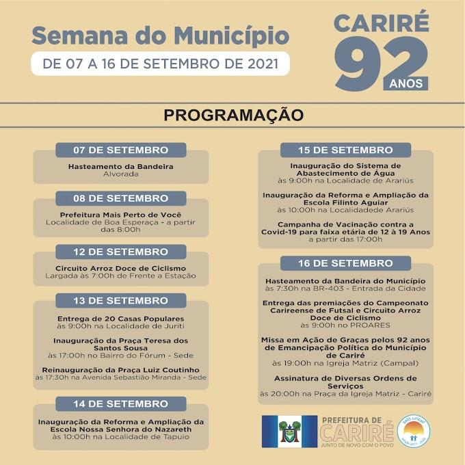 Programação da Semana da Emancipação Política de Cariré de 07 a 16 de setembro de 2021