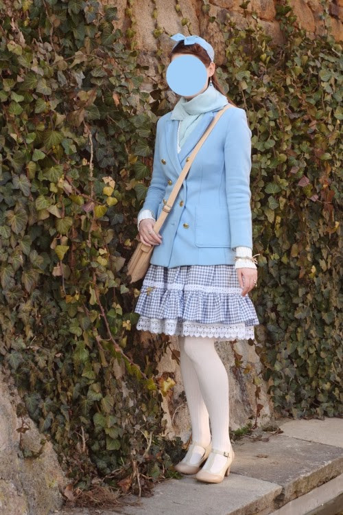blue stewardess lolita japanese fashion outfit 1955 hat pattern