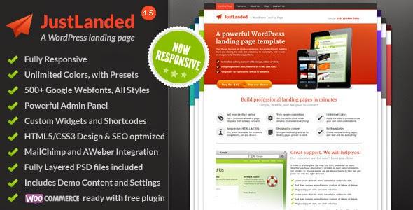 JustLanded - Best Responsive WP Landing Page. Free Download!