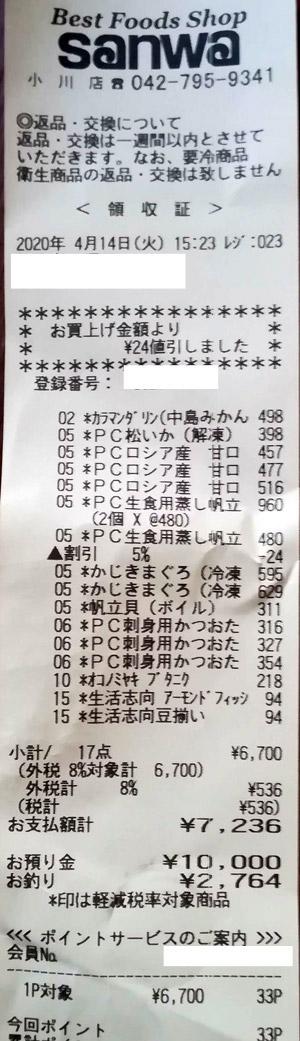 スーパー三和 小川店 2020/4/14 のレシート