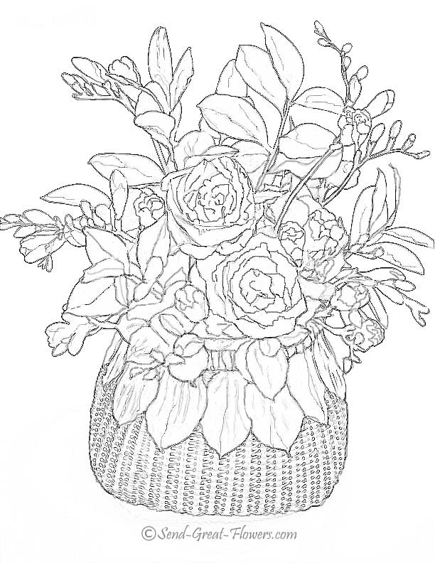 Advanced Flower Coloring Pages - Flower Coloring Page