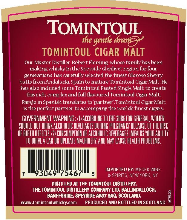 Tomintoul Cigar Malt back label